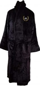 Personalize Plush Black Bathrobe