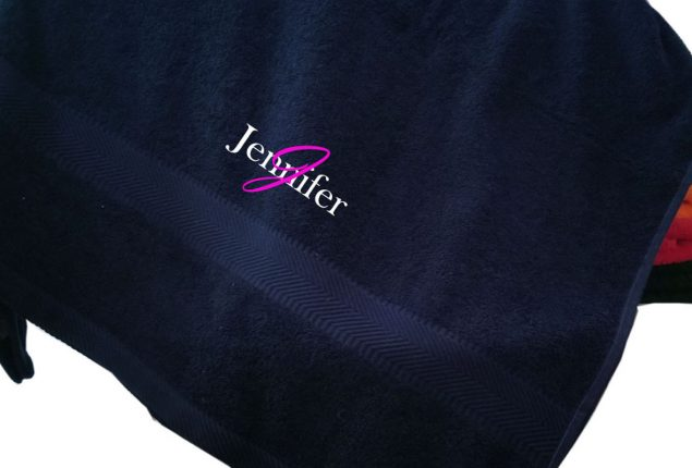 Embroidered Bath Towels for Students and Adults